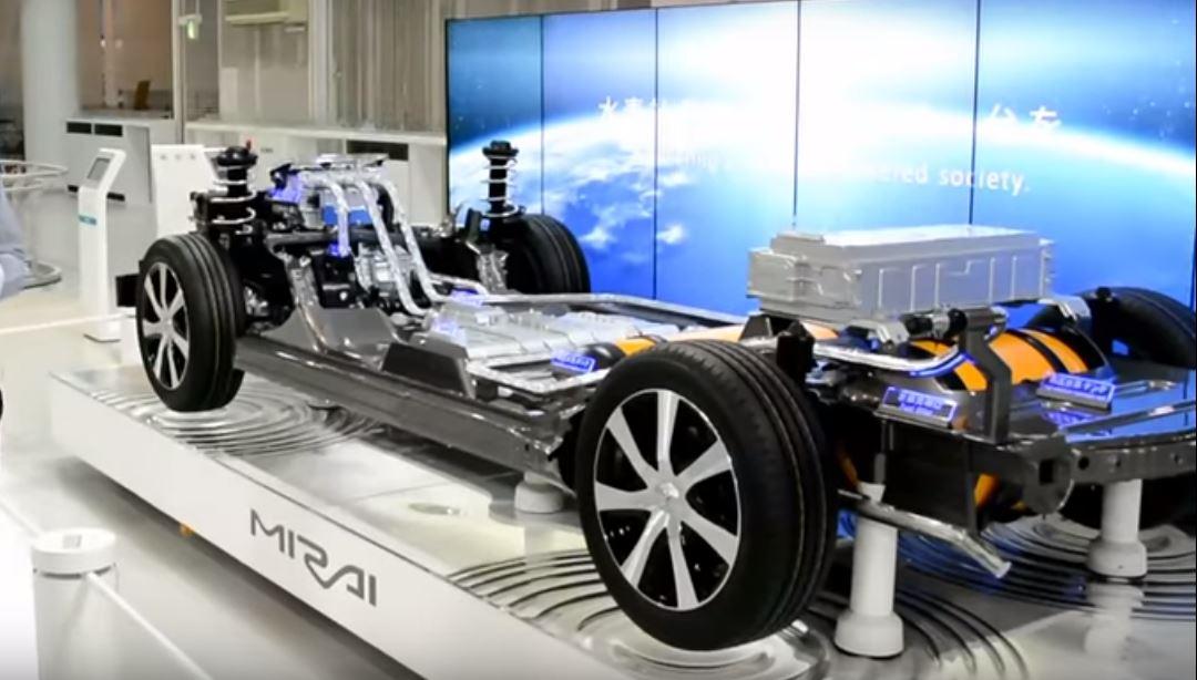 Разрез кузова Mirai показывает блок управления силовой электроникой и электрический тяговый двигатель спереди, стек топливных элементов и резервуар для хранения водорода посередине, а перезаряжаемая батарея NiMH находится выше в задней части