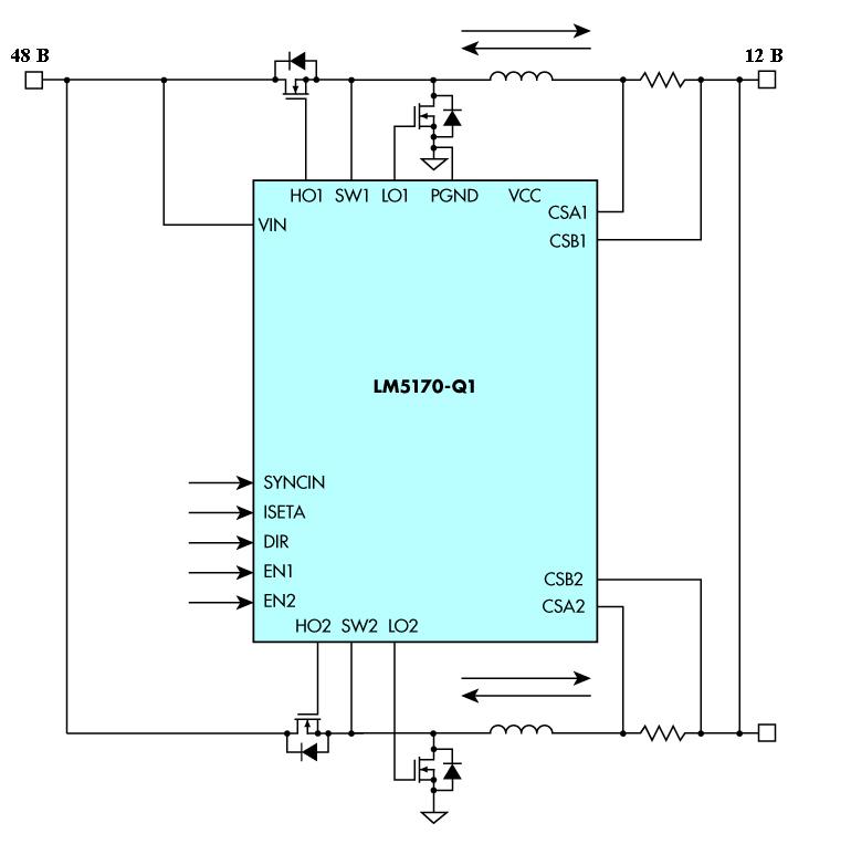 Этот двунаправленный преобразователь постоянного тока для систем с двумя аккумуляторами использует LM5170-Q1. Некоторые внешние компоненты были опущены для ясности