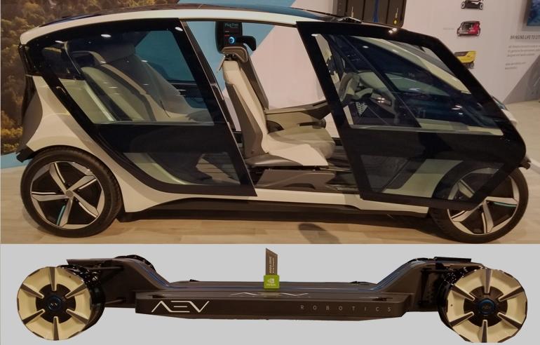 Платформа AEV (внизу) может быть оснащена любым количеством платформ (вверху) для автономного перемещения людей или грузов.
