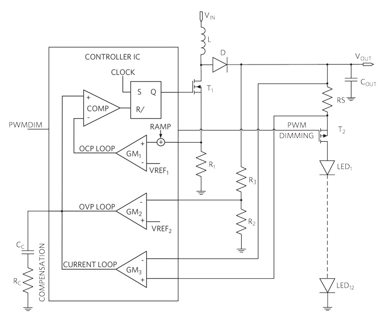 В эту стандартную конфигурацию системы управления светодиодными индикаторами усиления включены три контура обратной связи