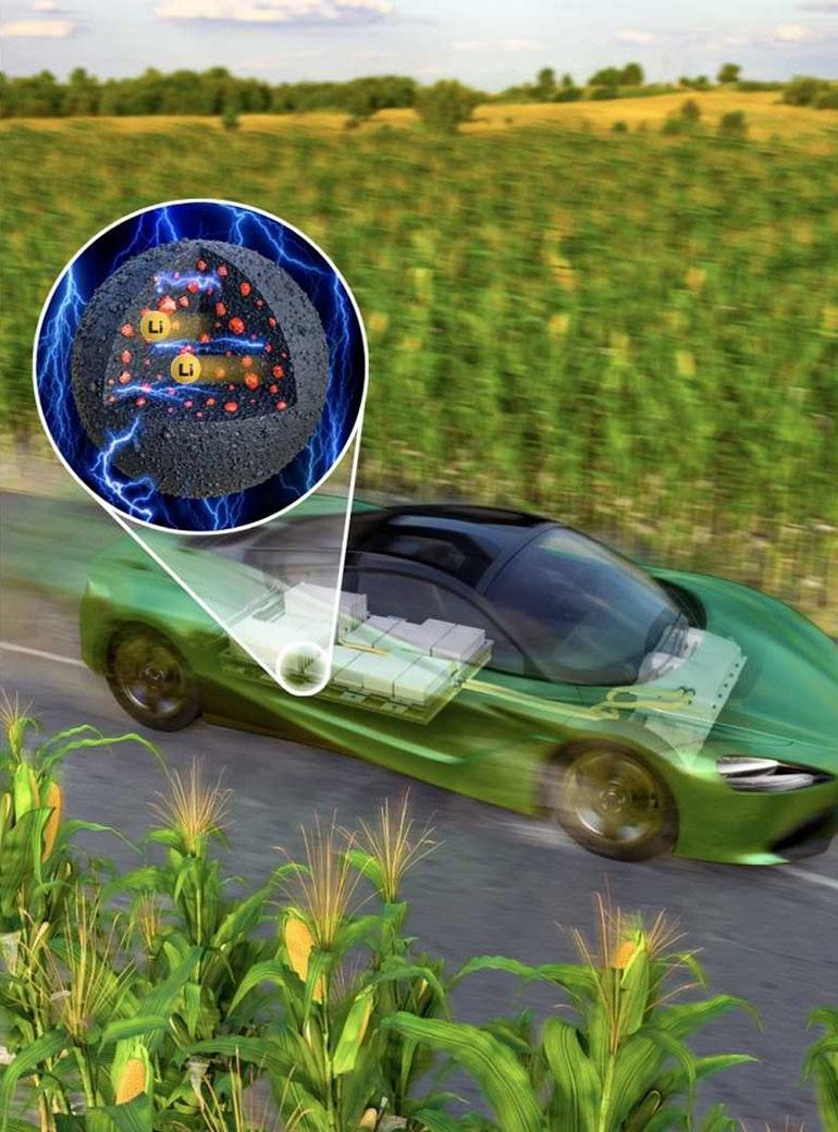Исследователи KIST использовали кукурузный крахмал для разработки альтернативы графиту в качестве катодного материала в аккумуляторной батарее электромобиля