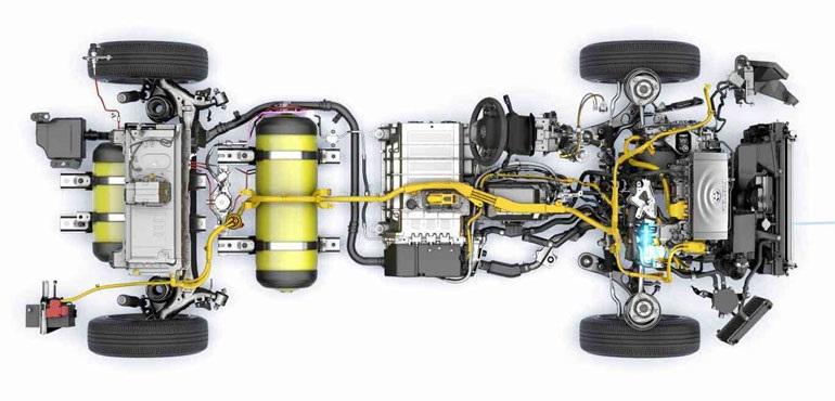 Toyota Mirai имеет топливный бак на 120 л, 151-сильный мотор 27 км на литр в бензиновом эквиваленте MPGe