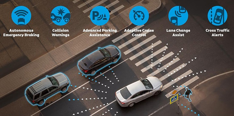 За пределами автомобиля всего от двух до четырех датчиков Vayyar могут заменить десяток традиционных датчиков ADAS